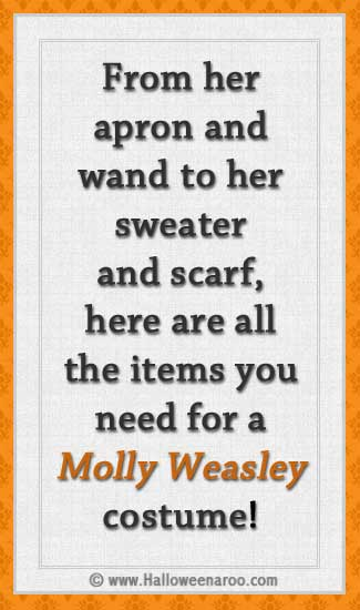 From her apron and wand to her sweater and scarf, here are all the items you need for a Molly Weasley costume.