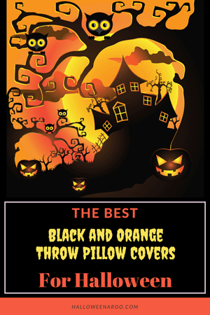 This is a collection of black and orange throw pillow covers that you can buy to convert an ordinary pillow into one that's ready for Halloween!