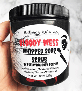Scrubbing whipped soap that looks like a bloody mess, perfect for Halloween!