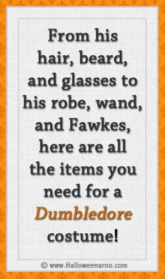 From his hair and beard to his robes and wand, here are the items you need for a Dumbledore costume.