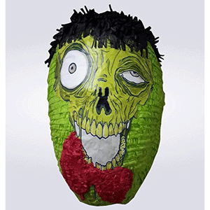 You can use this green zombie head piñata at a Halloween party or use it as a decoration!