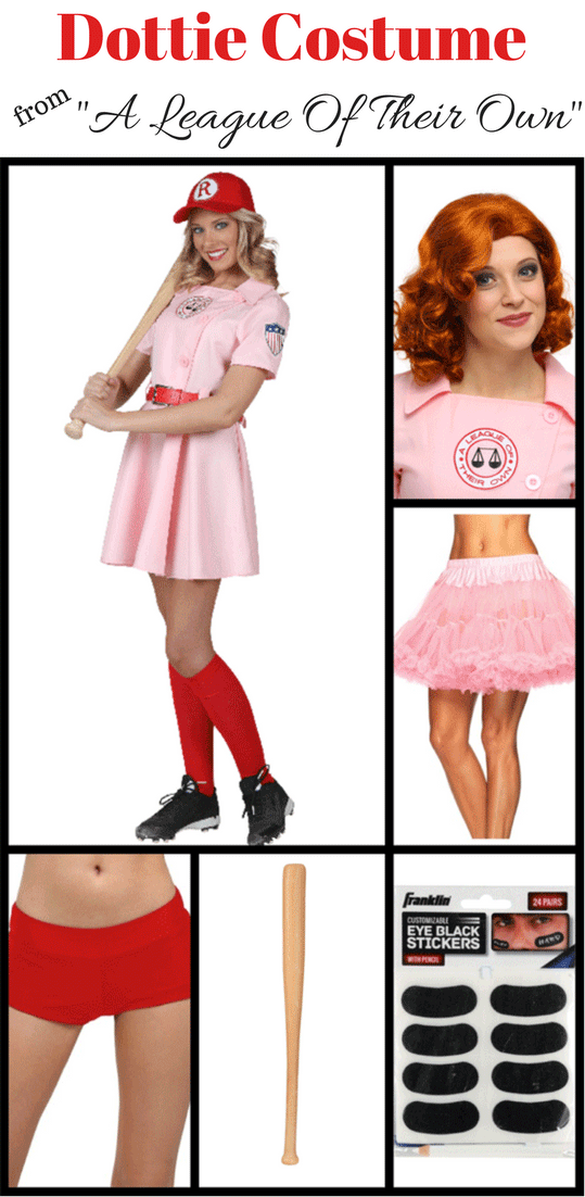 "This is everything you need to create a Dottie costume from ""A League Of Their Own,"" including a dress, baseball bat, and hat."