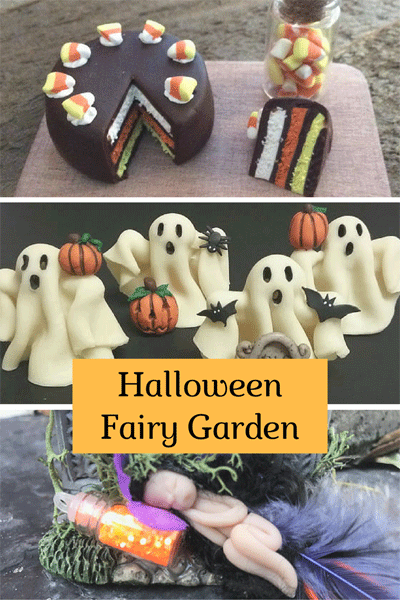 You can add anything from a sleeping fairy and cauldron with witch's brew to spooky ghosts and yummy candy corn sweets to your Halloween fairy garden.
