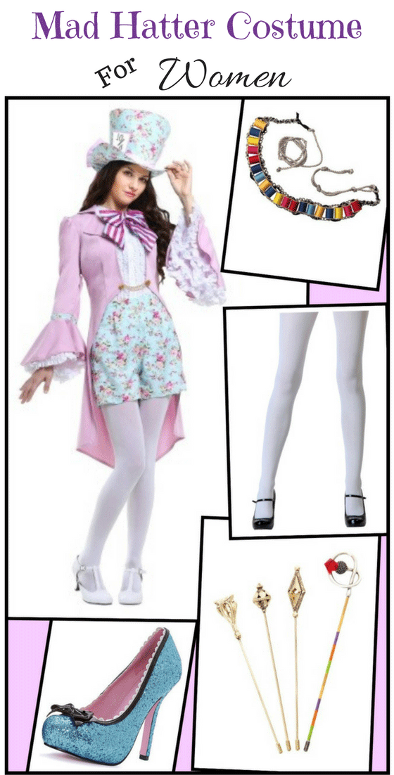 Find everything you need for a Mad Hatter costume for women, including a dress, tights, thread bandolier sash, and hat pins!
