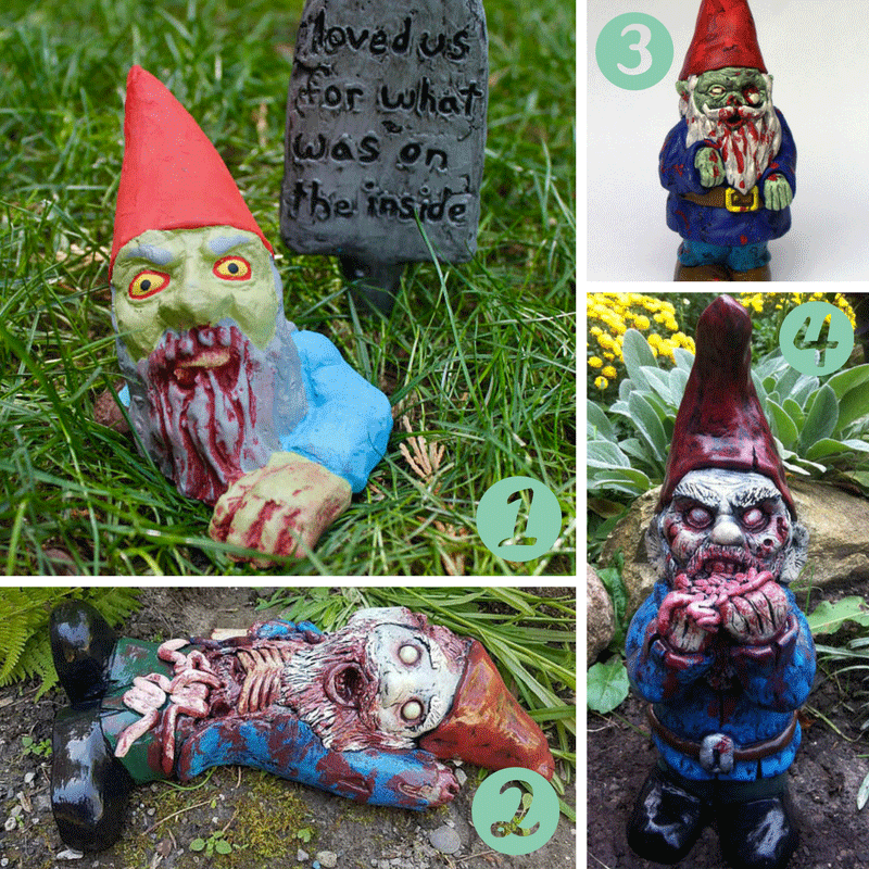 Four different zombie garden gnomes that you can buy on Etsy. Perfect for Halloween!